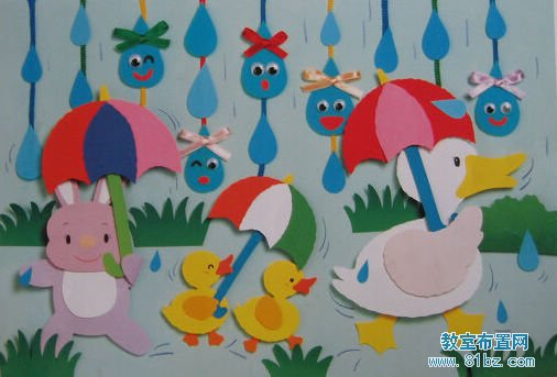 幼儿园主题墙布置图片:小鸭子小动物
