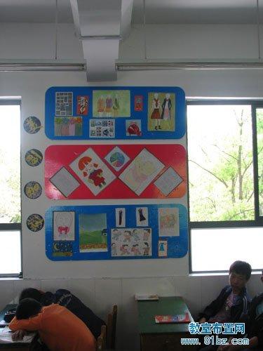 班级卫生角设计_高中教室文化布置图片:作品展示栏_教室布置网