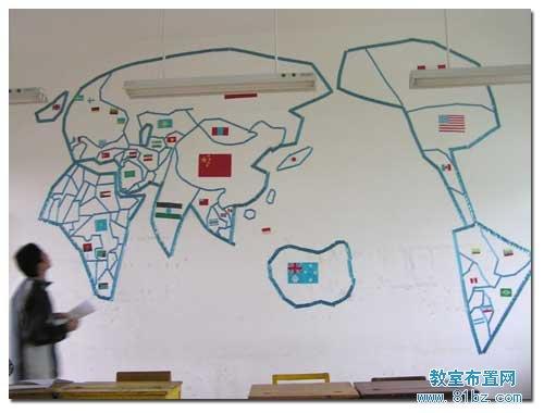大学教室布置图片:世界地图
