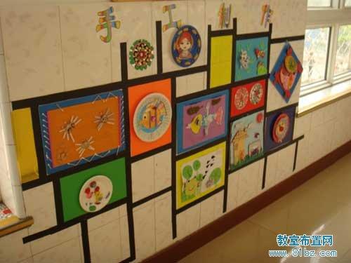 幼儿园走廊墙壁布置图片:手工作品展示