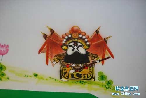 幼儿园墙面装饰画彩绘:可爱京剧人物图片