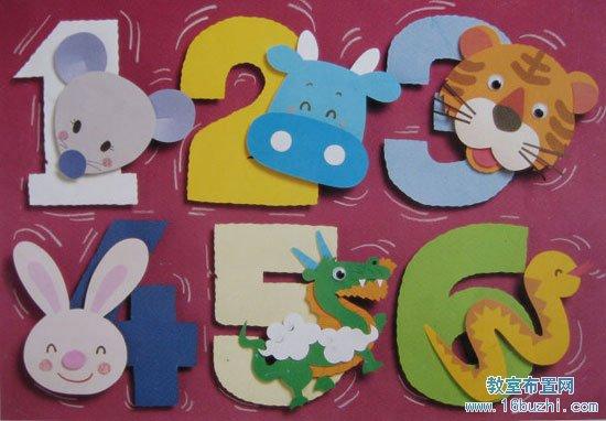 幼儿园小班墙面布置:动物数字(2)