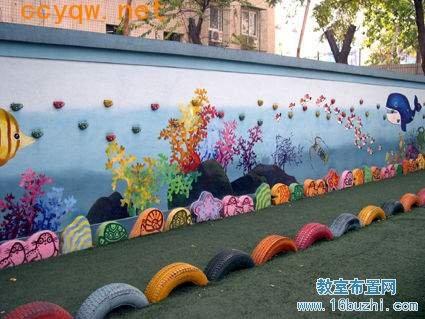 幼儿园户外环境布置:围墙装饰画