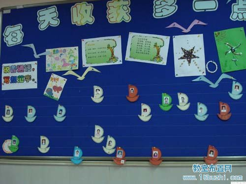 小学墙面布置:学生风采展示墙_教室布置网