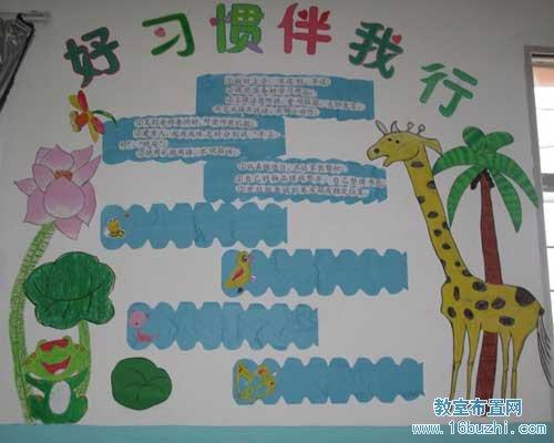 小学班级文明礼仪_小学班级文化建设宣传画:好习惯伴我行_教室布置网