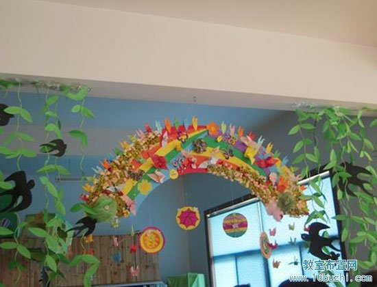 幼儿园中班吊饰布置:春天来了图片