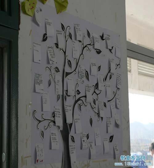 初二教室墙面布置:许愿树图片