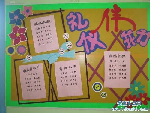 幼儿园文明礼仪宣传栏设计:礼仪伴我行