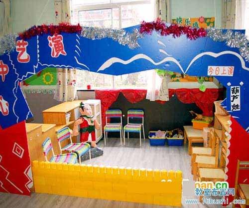 幼儿园游戏方案_幼儿园小班区角环境布置:演艺中心_教室布置网