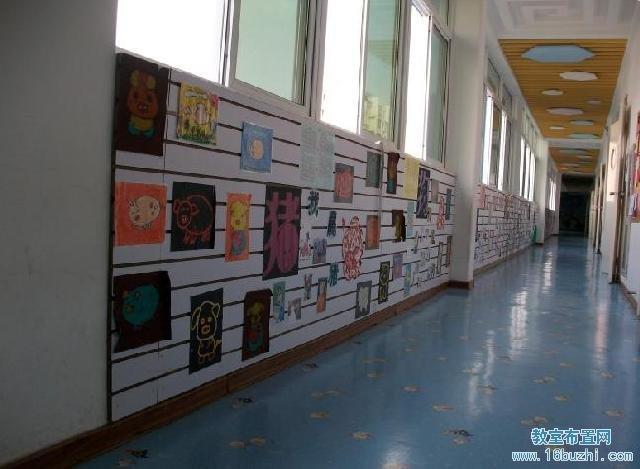 幼儿园走廊墙面布置:学生图画作品展示