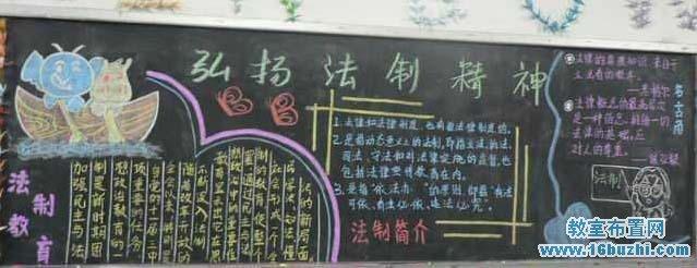 小学安全法制教育黑板报版面设计图展示
