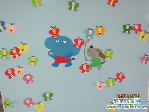 新开学幼儿园教室墙面布置:蝴蝶翩翩飞