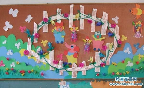 幼儿园中班主题墙布置:春天森林里的小动物