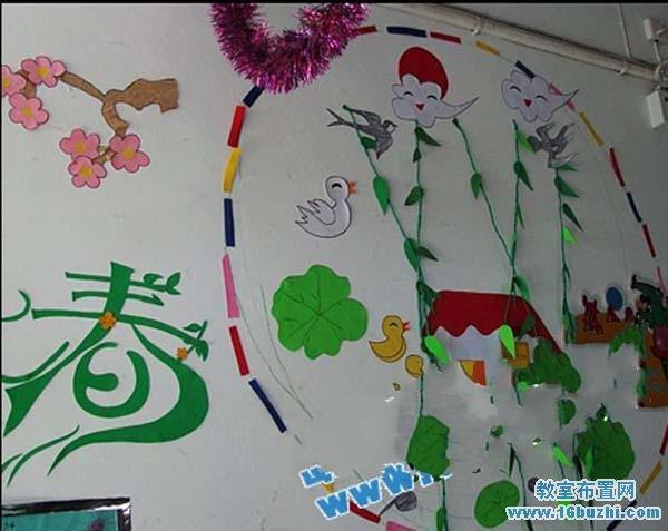 幼儿园春天墙面设计:春江水暖鸭先知