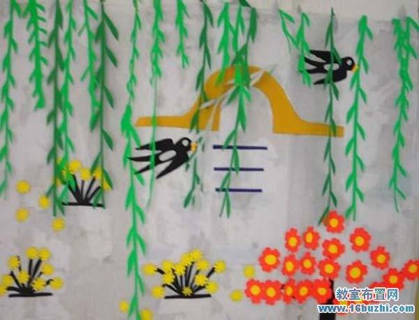 幼儿园教室墙面绘画_幼儿园春天环境布置:柳燕啄春泥_教室布置网