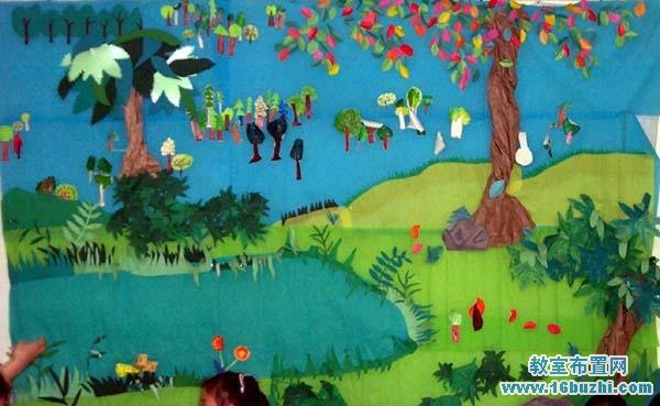 幼儿园夏天主题墙设计 夏天树林宁静池塘