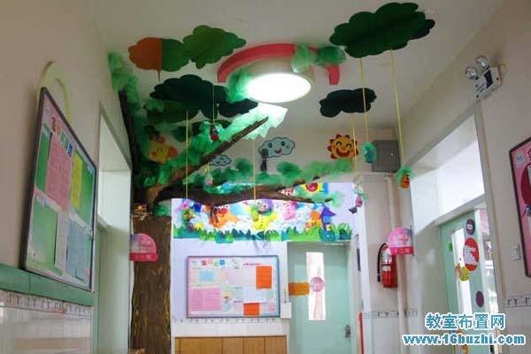 幼儿园走廊立体吊饰:绿树彩云间