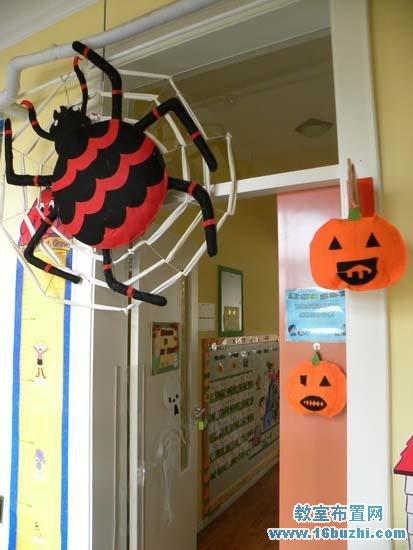 幼儿园万圣节教室门吊饰装饰 蜘蛛图片