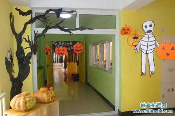 幼儿园万圣节走廊环境布置图片