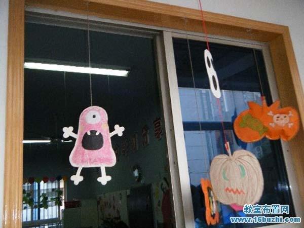 幼儿园万圣节窗户装饰图片图片