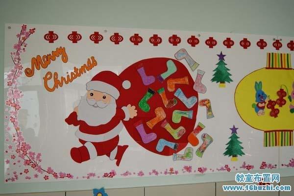 漂亮的幼儿园圣诞节主题墙装饰