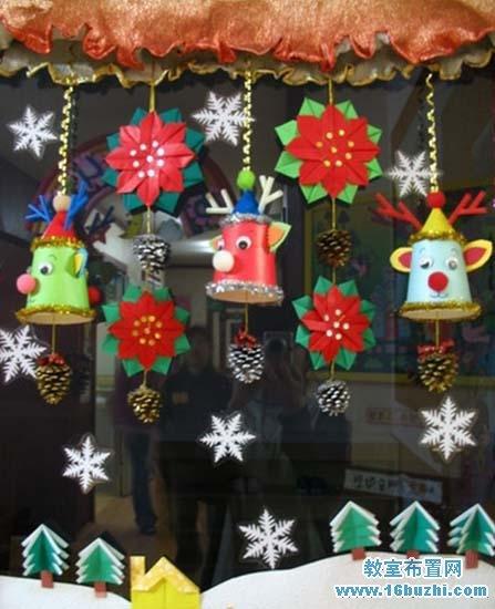 幼儿园圣诞装饰_幼儿园漂亮的圣诞节窗户挂饰布置_教室布置网