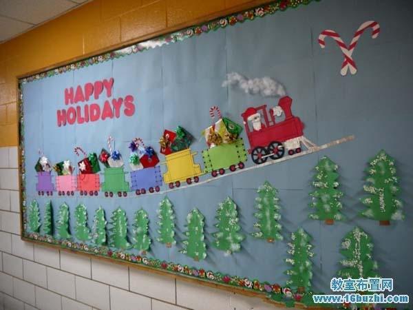 幼儿园圣诞节宣传板报设计_教室布置网
