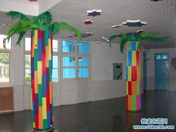 幼儿园大厅柱子布置