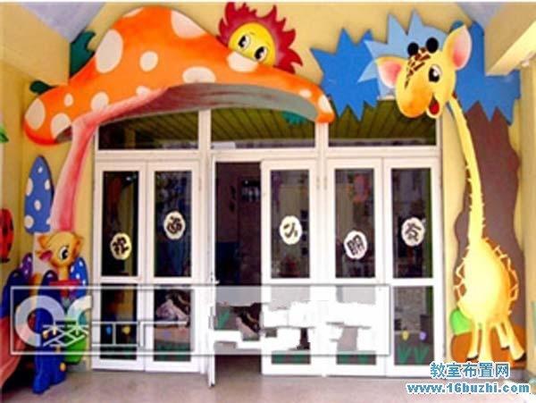 幼儿园大门玻璃门装饰
