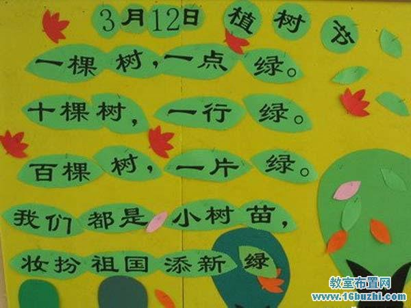 幼儿园大班植树节主题墙面布置