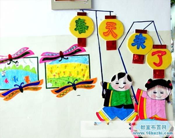 幼儿园春季教室墙面装饰:春天来了