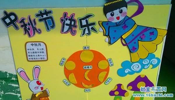幼儿园中秋节宣传板手工布置:中秋节快乐
