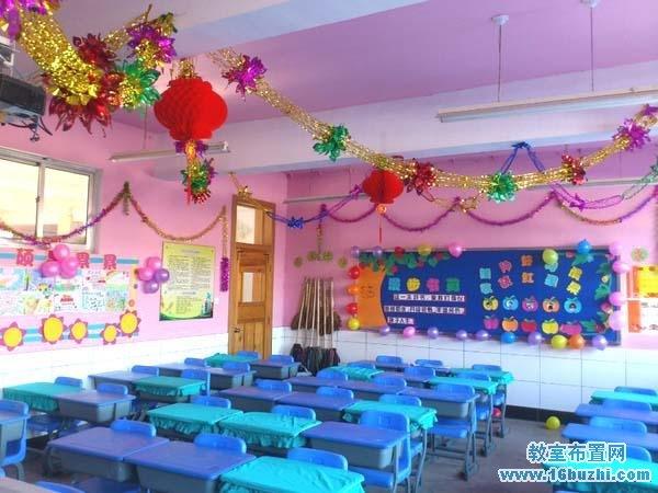 qq元旦装扮_一年级元旦教室环境布置图片_教室布置网