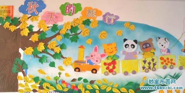 幼儿园教室秋天主题墙饰设计:秋天的旅行