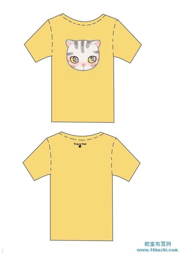 小学生班服设计图案:可爱猫咪头像