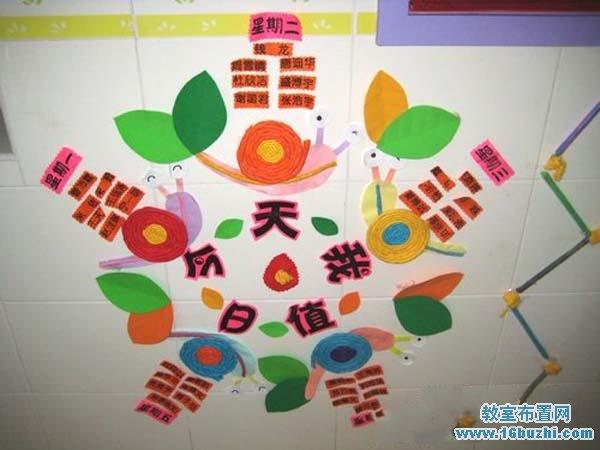 幼儿园教室值日生墙饰装饰图片