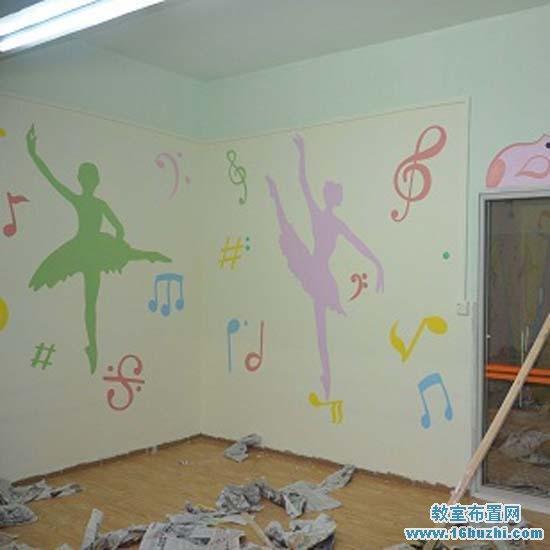 幼儿园舞蹈室墙面彩绘装饰:美丽的舞者