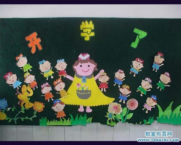 幼儿园新学期开学黑板报手工布置图片