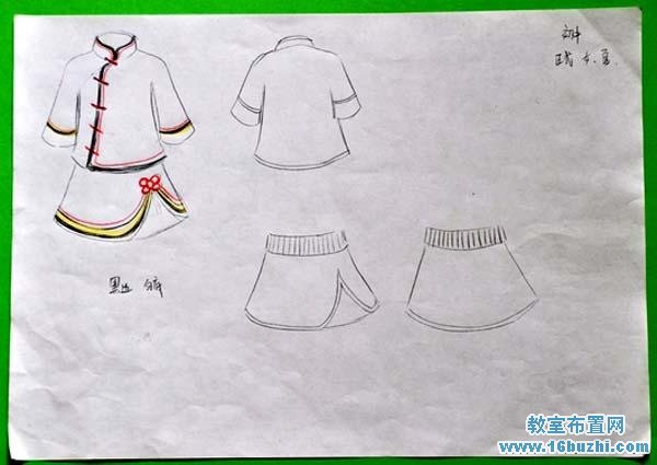 泰国女生校服_女生中华汉元素校服设计手绘图纸_教室布置网
