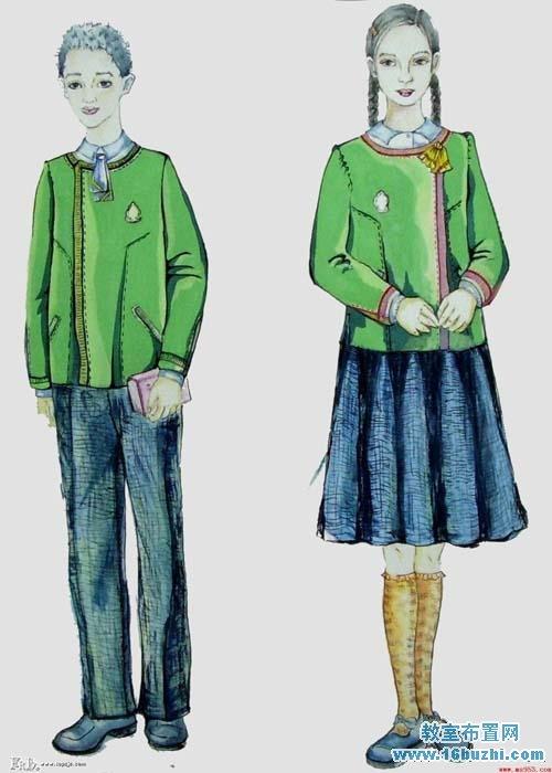夏季校服设计图铅笔手稿女分享展示图片