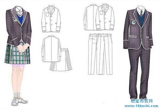 大学生校服设计作品手绘图纸