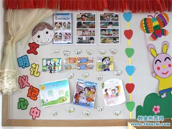 幼儿园文明礼仪背景墙布置图片:文明礼仪记心中图片