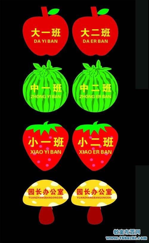 幼儿园水果班牌设计图案大全_教室布置网