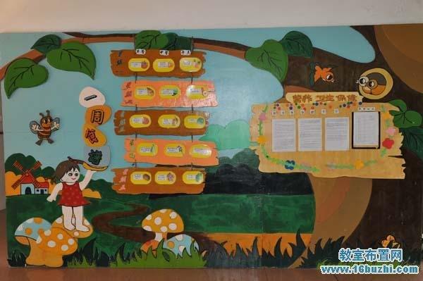 幼儿园食谱手工墙设计图片