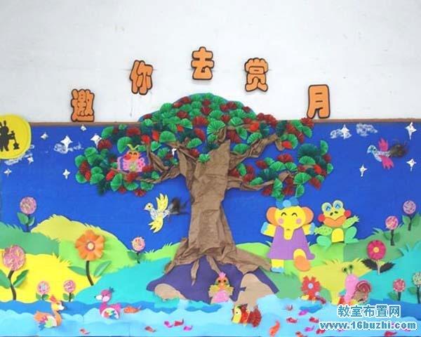 幼儿园小班中秋节主题墙手工布置图片:邀你去赏月