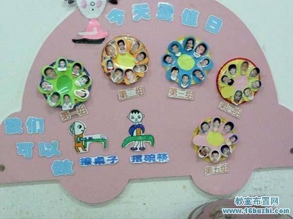幼儿园托班值日生背景墙布置图片