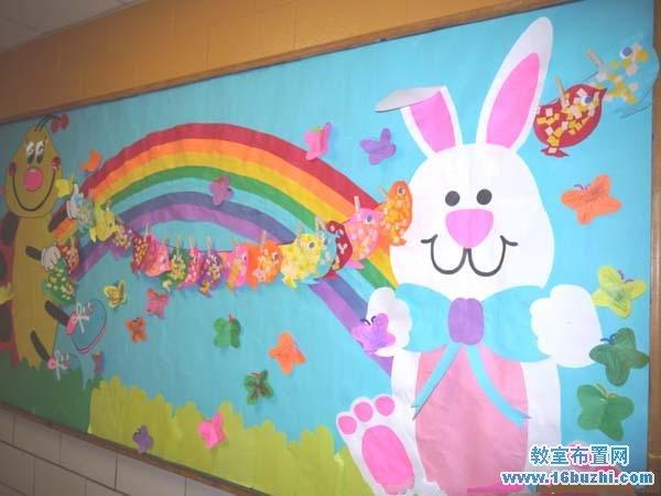 漂亮的幼儿园小班复活节主题墙布置图片