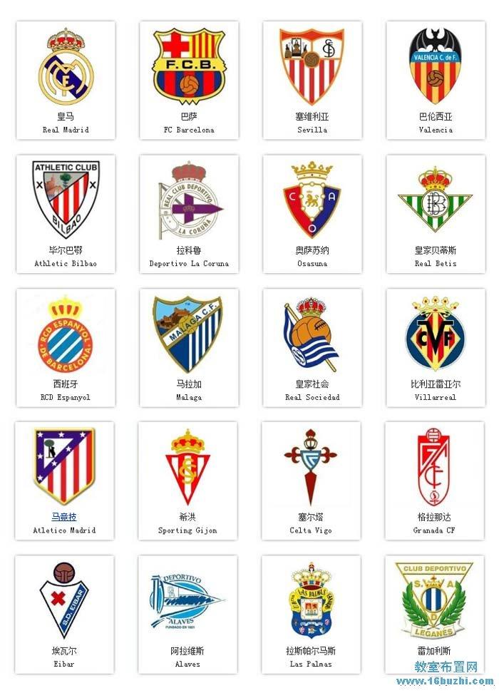 西甲20支足球球队队徽标志图片大全
