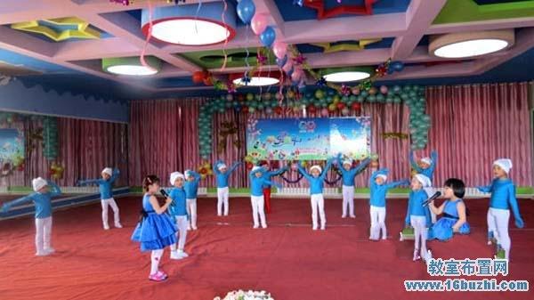 幼儿园六一节大厅活动舞台环境创设图片