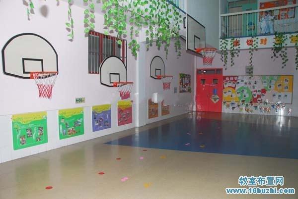 幼儿园体育活动大厅篮球框设计图片